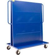 """Valley Craft Modular A-Frame Bin Cart F89546 w/2 Round-Peg Pegboard Panels 48""""W x 30""""D x 62""""H, Blue"""