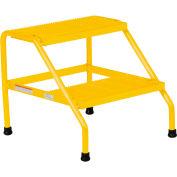 Marche-pied large jaune en aluminium Vestil -2 marches, soudé -SSA-2W-Y