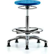 Blue Ridge Ergonomics™ Cleanroom Stool avec Glides et Footring - High Bench Height - Bleu
