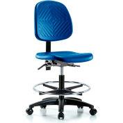 Blue Ridge Ergonomics™ Industrial Stool - With Chrome Foot Ring - Polyurethane - Blue