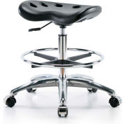 Interion® Polyurethane Tractor Stool With Foot Ring - Black w/ Chrome Base