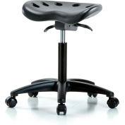 Interion® Tabouret tracteur en polyuréthane avec inclinaison du siège - Noir w/ Black Base
