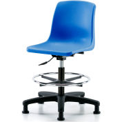 eCom Seating One-Piece Plastic Shell Stool - With Chrome Foot Ring - Blue