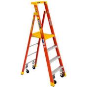 Werner PD6206-4CCA - 6' Grade 1A Fiberglass Podium Ladder w/ Casters, 300 lb. Capacity