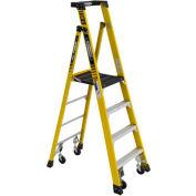 Werner PD7304-4CCA - 4' Grade 1AA Fiberglass Podium Ladder w/ Casters, 375 lb. Capacity