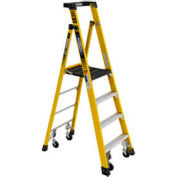 Werner PD7306-4CCA - 6' Grade 1AA Fiberglass Podium Ladder w/ Casters, 375 lb. Capacity