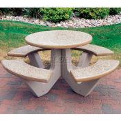 "Wausau Tile 66"" Concrete Round Picnic Table, Sand"