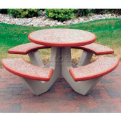 "Wausau Tile 66"" Concrete Round Picnic Table, Brick Red"