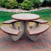 "Wausau Tile 66"" Concrete Round Picnic Table, Brown Top/Base"