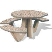 "Wausau Tile 66"" ADA Compliant Concrete Oval Picnic Table, Gray"