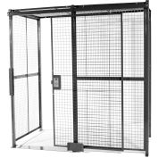 """840 Style, Woven Wire, 3 Sided Cage w/5' Sliding Door, No Ceiling 10' 6"""" x 10' 4"""" x 10' 5-1/4""""H"""