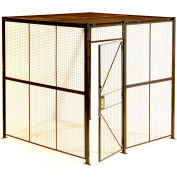 """840 Style, Woven Wire, 3 Sided Cage w/3' Hinged Door, No Ceiling 12' 6"""" x 12' 6"""" x 8' 5-1/4""""H"""