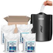 Germisept™ Wall Mounted Plastic Wet Wipe Dispenser, Black Starter Kit - 4 x 800 Lingettes/paquets