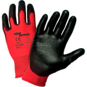 Zone Defense™ Red Nylon Shell Coated Gloves, Black Poly Palm Coat, XL - Pkg Qty 12