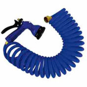 "Whitecap 50' Blue Coiled Hose w/Nozzle & 3/4"" Male/Female Brass Fittings - P-0442B"