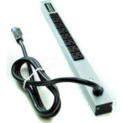 Wiremold CabinetMATE Power Strip, 8 Outlets, 20A, 15' Cord