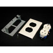 """Wiremold G3043ge Duplex Grounding Receptacle & Cover 15a, 125v (3-Wire), Gray, 4-1/2""""L"""