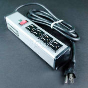Wiremold Power Strip W/Lighted Switch, 4 Outlets, 15A, 15' Cord