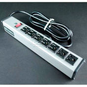 Wiremold Power Strip W/Lighted Switch, 7 Outlets, 15A, 6' Cord
