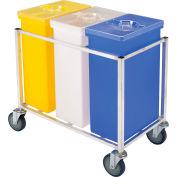Winholt® 148 PIB-Triple Ingredient Bin Cart, Aluminum Cart w/3 Polyethylene Bins