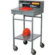"""Winholt Mobile Open Base Shop Desk avec Pigeonhole Riser, 24""""W x 22""""D x 48""""H, Gris"""