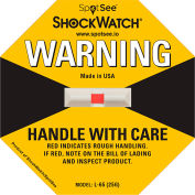 SpotSee™ ShockWatch® indicateurs d'impact L-65, gamme 25G, jaune, 50/box
