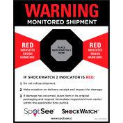 SpotSee™ ShockWatch® 2 & RFID Companion Labels, 4-1/2» x 5-3/4», Noir/Rouge/Blanc, 200/Roll