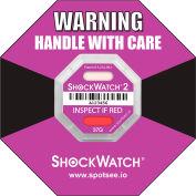 SpotSee™ ShockWatch® 2 indicateurs d'impact encadré sérialisés, gamme 37g, violet, 50/box
