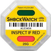 SpotSee™ ShockWatch® indicateurs d'impact RFID, plage 25G, jaune, 100/box