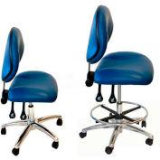 """WSI 2000 série chaise 2000-CB-ECR-BL, ESD salle blanche Vinyl, Base de Chrome, 18-23"""""""" H, bleu"""