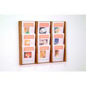9 Pocket (3Wx3H) Acrylic & Oak Wall Display - Medium Oak