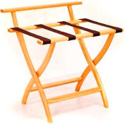 Wooden Mallet WallSaver™ Luggage Rack with Brown Webbing, Light Oak