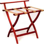 Wooden Mallet WallSaver™ Luggage Rack with Tan Webbing, Mahogany
