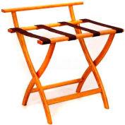 Wooden Mallet WallSaver™ Luggage Rack with Brown Webbing, Medium Oak