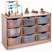 """Preschool meuble de stockage avec plateaux claire 9, 40-1/2"""" W x 17-1/2 «D x 24-1/2» H, naturel"""