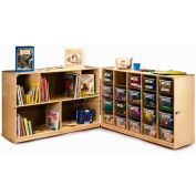"Fold And Roll Cubby Storage Unit with 20 Clear Trays, 96""W x 14""D x 31""H, Natural"