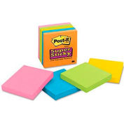 Post-it® Super Sticky Note Pads, 4x4, Lined, Asstd Colors, Six 90 Sheet Pads/Pk