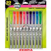 Zebra Zazzle Brights fluorescent liquide surligneur-pointe de ciseau-assortiment d'encre-10/Pack
