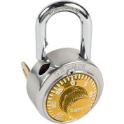 """Zephyr 1925GLD Combination Padlock 13/16"""" Shackle with Control Key Access - Gold Dial"""