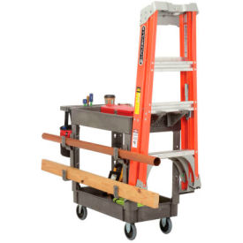 Global Industrial™ Service Cart with Ladder Holder and Utility Hooks