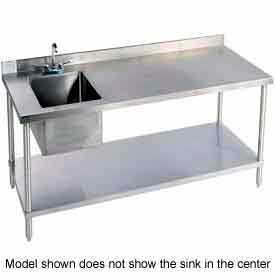 "Aero Manufacturing 2-TGB3096T100 96""W X 30""D 14 Gauge Stainless Workbench w/ Shelf & Left Sink"