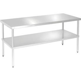 "Aero Manufacturing 4TG-3072 72""L x 30""W 16 Gauge Stainless & Galvanized Steel Workbench w/ Shelf"