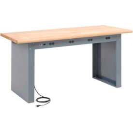 "60""W x 30""D Panel Leg Workbench With Power Apron and Maple Butcher Block Safety Edge Top"