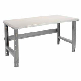 "60""W X 30""D Plastic Laminate Safety Edge Work Bench - Adjustable Height - 1-5/8"" Top - Gray"