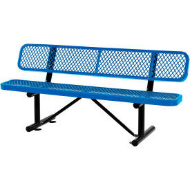 6 ft. Outdoor Steel Bench with Backrest - Expanded Metal - Blue