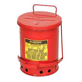 Justrite 6 Gallon Oily Waste Can, Red - 09100