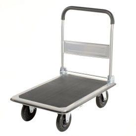 "Folding Platform Truck with 35 x 23 Solid Steel Deck 8"" Pneumatic Wheels 600 Lb. Cap."