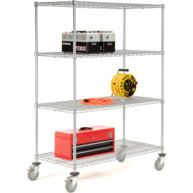 Nexelate Wire Shelf Truck 48x24x80 1200 Pound Capacity With Brakes