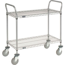 Nexelate Wire Shelf Utility Cart 36x24 2 Shelves 800 Lb. Capacity