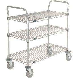 Nexelate Wire Shelf Utility Cart With Brakes 36x18 3 Shelves 800 Lb. Capacity